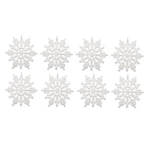 24Pcs Plastic Snowflake Ornaments,Sparkling White Iridescent Glitter Snowflake Ornaments on String Hanger for Decorating,Craftin