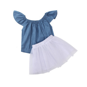 DHgate Fashion 2pcs Toddler Baby Kids Girls Clothes Solid Color Tops +dress Set Outfits Clearance newst baby dress Z0208