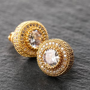 2020 Fashion Classic Round Cubic Zirconia Copper Metal Gold Silver Color Rose Gold Stud Earrings Women Men Hip Hop Jewelry