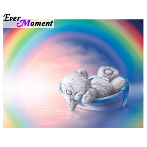 Ever Moment DIY 5D Diamond Painting Cross Stitch Tatty Teddy Bear Rainbow Diamond Embroidery Painting Cartoon Full Kit ASF784 0924
