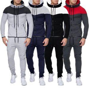 Men's Sports Suit Men Tracksuit Zipper Sets Sweatshirt Muscle men's zipper sweater + stitching trousers suit gyms Running