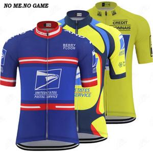 Postal de la vendimia de la ropa de ciclo de Jersey ropa de los hombres de carreras de ruta de verano de manga corta amarilla azul bicicleta MTB camisas cremallera completa