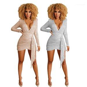 Partido de las mujeres atractivas de los vestidos de lentejuelas cuello en V profundo de la columna de verano vestidos de Bodycon Womens sólido de color Desginer Ropa