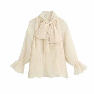 2020 concepteur manches longues ras du cou femmes Blouses Chemises d'été nouveau tulle décoré arc mince chemise vêtements pour femmes