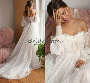 Off The Shoulder Puff Sleeve Boho Wedding Dresses Dot Tulle Long Sleeve Beach Wedding Dress 2020 Full Length Cheap Bohemian Bridal Gowns