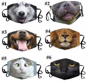 3D-печати Funny Face Mask Защитная крышка Mouth животных печати моющийся многоразовый Респиратор взрослых Unisex Дизайнер Маски Рождество Маска DHE775