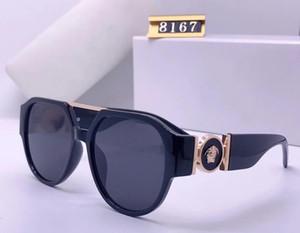 نظارات نظارات شمسية 8167 الذهب الأسود رمادي عدسة هندسية المتضخم الرجال النساء النظارات الشمسية الجديدة مع العلامات البيضاوي المتضخم إمرأة نظارات شمسية كبيرة