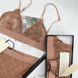 Женщины Sexy кружева бюстгальтеры Классический Письмо вышивки Леди бикини Модный Прозрачный Hollow Женский Два кусочка белье