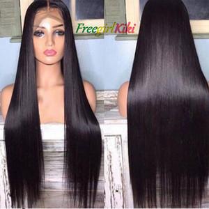 Pelucas sintéticas de peluca negra larga y recta para mujeres Peluca de aspecto natural de la peluca de encaje