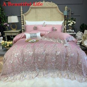 Luxury Pink Princess 1000TC pizzo di cotone Copripiumino ricamo egiziano Lenzuola Coprimaterasso Federe Bedding Set 4 / 7pcs T200822