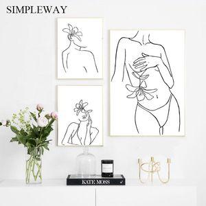 Line Drawing сексуальная женщина тела Аннотация Холст Картина скандинавской Плакат и печать Минималистский Wall Art Picture Современный Домашнее украшение