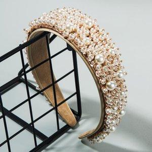Baroque Accessoires pour cheveux Perles Perles Bandeaux de haute qualité pleine perle matelassée Hoop cheveux diadème de mariée mariage Bandeaux