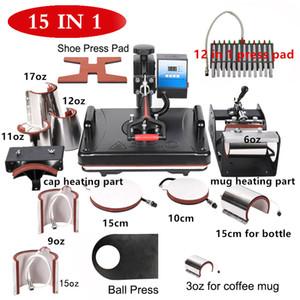 15 em 1 imprensa do calor Pen Machine / Bottle / Hat / caneca / placa Sublimação Digital Máquina de transferência semi-automática