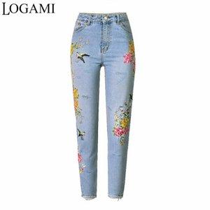 LOGAMI gestickte Jeans Frau Blume Gerade mit hohen Taille Frauen Jeans Neuer