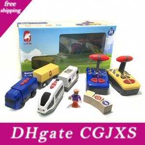Toy Car Faixa Branca Harmony Treinar e acompanhar azul Combinação Remote Control Electric Car Toy Presente do menino Fit Brio trilha