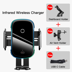 FreeShipping Qi Car Wireless Charger for Phone 11 Samsung Xiaomi 15W Induction Car Mount Fast Wireless Charging with Car Phone Holder