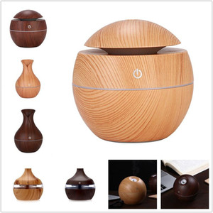 Holzmaserung Bamboo Luftbefeuchter mit LED-Leuchten Mini Aroma Essential Oil Diffuser USB Ultraschall-Luftbefeuchter für Office Home 8 Arten