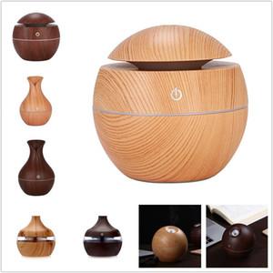 Humidificador de aire del grano de madera de bambú con luces LED Mini USB Aroma esencial difusor de aceites humidificador ultrasónico para la oficina en casa 8 estilos