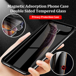 Gizlilik Manyetik Kılıf Samsung Galaxy S21 S20 S10 Ultra Anti-Peeping Çift Temperli Cam Metal Tampon Samsung Note20ultra S21 Için