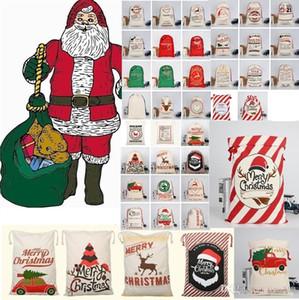 Nouveau Noël grande toile Monogrammable Père Noël Sac à cordonnet avec Reindeers, Monogramable Cadeaux de Noël Sac de jute Sacs A350