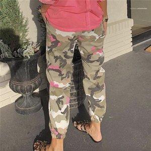 Bel Düz Moda Bayan Kalem Pantolon Sokak Casual Kadın Pantolon Bahar Bayan Kamuflaj Spor Pants Elastik Cepler