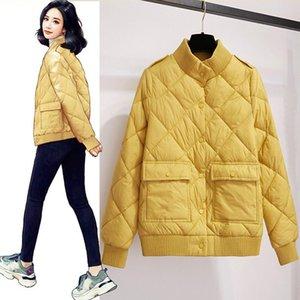 Vangull New Ultra Light Baumwolljacke Frauen Short Einreiher Mantel-Frauen Leichte dünne Baumwoll Langarm-Oberbekleidung Warm