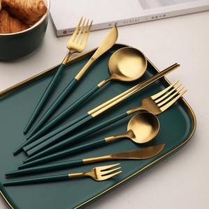 Geschirr Set Besteck Western Abendessen Set Essstäbchen Gabelspoon Messer Set Geschirr Besteck Schwärzlich Grün Gold Dropshipping