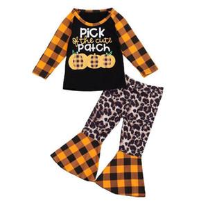 Хэллоуин дети костюм выбрать тыкву оранжевый плед 2-х частей набор с длинными рукавами футболки + мода расклешенные брюки младенца младенца РАСПРОДАЖА D9402 легкий костюм с шортами