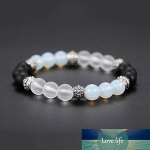 Crystal Stone white black Beads Bracelets Bangles for Women Men Healing Pray Elastic Yoga Bracelet Jewelry Gifts will and sandy drop ship