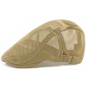New creux design Beret hommes d'été Couleurs unies Femmes Mesh Casquettes réglable Respirant Casquettes de baseball vintage chapeaux de soleil en gros