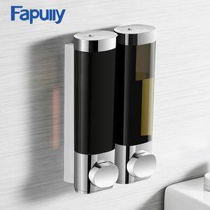 Fapully Flüssigseifenspender Doppel 250ML Schwarz-Chrom Wandmontage Rund Bad-Accessoires Lotion Pump Dispensers Flasche Y200407