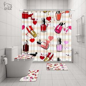 Nyaa 4 PC Nail Polish Cuori E spruzzata della vernice Shower Curtain piedistallo Rug coperchio del WC coperchio tappetino da bagno Mat Set per il bagno Decor