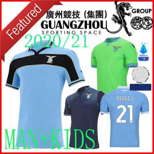 20 21 لاتسيو كأس دوري كرة القدم بالقميص الأخضر AWAY الثالث 2020 2021 قمصان كرة القدم خاص LUIS متحرك الرجال الأطفال مجموعات MAGLIA دا كالتشيو