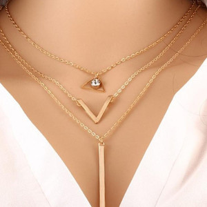 Multilayer Chain Necklaces Jewelry Women Necklaces Fashion Triangular V-shaped Metal bar Rhinestone Pendants Three layer Necklace