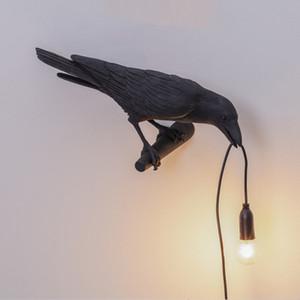 Nordic Bird pared de la resina lámpara moderna italiana blanco / negro del envío del pájaro libre de la lámpara para el dormitorio Sala Comedor luces de la pared