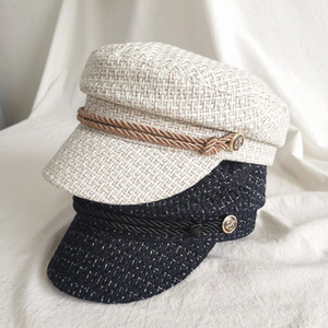 JIN-Swhbias Sailor Caps for Women Plaid Rope Metal Button Octagonal Caps 2020 New Autumn Berets England Vintage Newsboy Hat