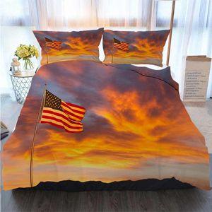 Weihnachten Halloween Thanksgiving-3 Stück Bettbezug Sets American Flag Glow In Sunset (P) Bettbezug Designer Bed Comforters Sets