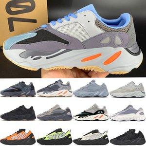 Com Box New kanye west 700 v1 v2 MNVN Reflective Carbono Azul grafite ímã Laranja da tintura do laço Vanta homens correndo sapatos femininos tênis