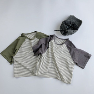 HX INS Fashions Little Boys Girls Tees Pure Cotton Tops Patchwork Stripes Summer Tshirts Quality Children Boys Tops Unisex Kids Tshirts