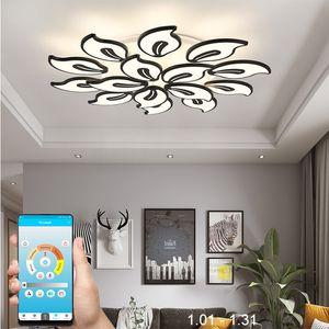 IRALAN acrylique moderne LED Lustre noir blanc pour Salon Chambre LED Lustres grand lustre Éclairage à domicile