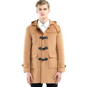 URSMART brand new men horn button wool coat long section thick woolen coat quilted Popular
