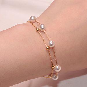 Frauen Art und Weise Kettenarmband Doppel justierbare Perlen braslet Freundschaft Brazalete Valentinstag Geschenk Frauen Zubehör Pulseira