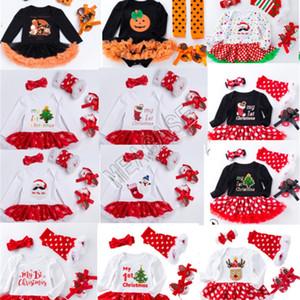 2020 Christmas Baby Girls Rompers Long Sleeve Dress+Headband+Kneepad+Shoes Four-piece Suit Halloween Kids Pots Snow Pumpkin Jumpsuits D82504