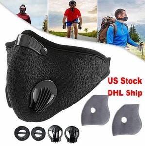 Maschera Viso US Stock Sport con filtro carbone attivo PM 2,5 Anti-Pollution respirazione Valvola Esecuzione maschere allenamento bicicletta di protezione