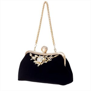 Evening Bags Female Diamond Pearl Handbag Vintage Crystal Flower Evening Bag Wedding Party Bride Clutch Bag Purse Black