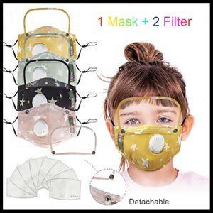 Kids Face shield Protective mask Children cartoon cotton designer face mask with 2 filter pure cotton mask PM2.5 Dustproof face masks