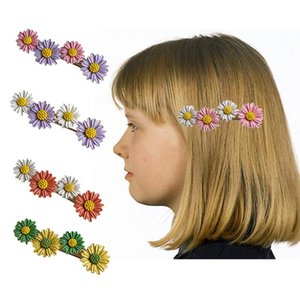 Women Girls Metal Duckbill Hair Clip Contrast Candy Colored Daisy Hairpin Baking Paint Sunflower Side Bangs Barrettes