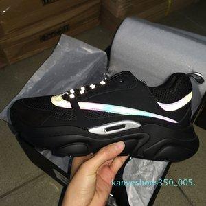 K06 Mens Lacets B22 Sneaker en cuir blanc Chaussures de sport en cuir vachette Haut Tricot technique Femmes plateforme Chaussures Bleu Gris Courir Formateurs avec boîte