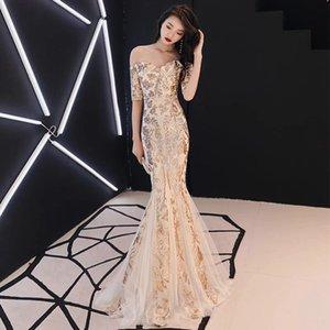 Fashion Party Sequins dell'oro abito da sera lungo Womens pizzo Abiti abito Ragazza Cinese Oriental Style Wedding Gowns Qipao Cheongsam