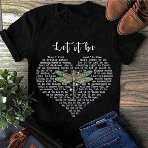 Libellula Let It Be canzone Let It Be maglietta nera del cotone degli uomini S 4XL siamo fornitore